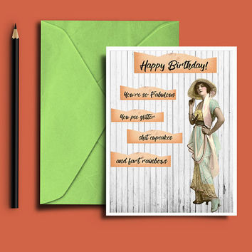 Funny birthday card for her, Birthday card for best friend, Printable birthday card, Card for women, Happy birthday card,  Instant download