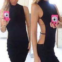 2016 Sexy Women Nightclub Party Dresses Backless Back Open Bandage Dress Slim Clubwear Bodycon Dress Vestidos Female