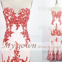 2014 Red Prom Dress,Strapless Red Lace Gown Rich Applique Prom Dress, Evening Dress,Wedding Dresses,Wedding Gown,Evening Gown,Party Dress
