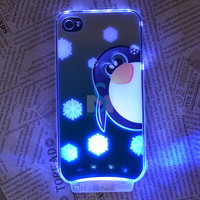 Snow Penguin LED Color Changed Sense Flash Light Case Cover for iPhone 4 4G 4S