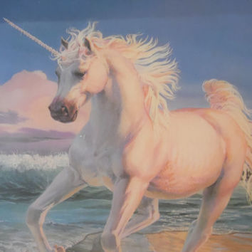 FREE SHIPPING - Unicorn Picture/Vintage Picture/Animal Picture/Vintage Wall Hanging