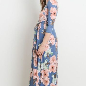 """Sienna"" Periwinkle Floral Maternity/Nursing Wrap Maxi Dress"