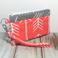 Coral Arrow Wristlet - Coral Gray Arrows - Coral Phone Wristlet - Coral Clutch Bag - Coral Phone Clutch - Cell Phone Wristlet - Wristlet
