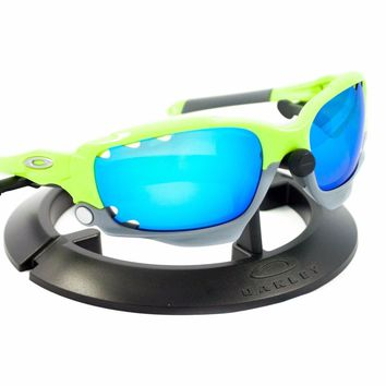 OAKLEY RACING JACKET RETINA BURN GREEN / REVANT ICE BLUE POLARIZED CUSTOM LENS
