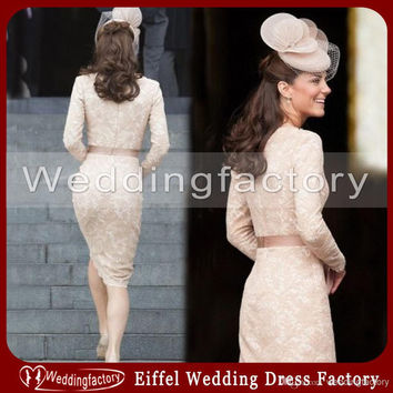 Mother of the Bride Dresses Kate Middleton Dress Sheath Bateau Lace Cocktail Dresses Champagne Long Sleeves Knee Length Mother Wedding Party