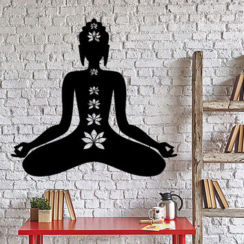 Wall Decal Buddha Yoga Lotus Meditation Interior Home Decor Unique Gift z4035