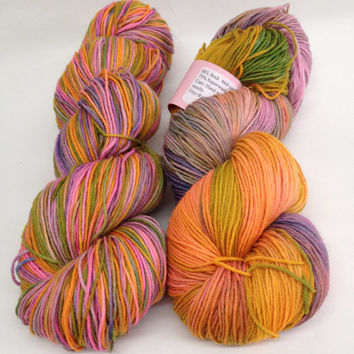 BFL Sock- 100 grams Color- On A Jet Plane Hand Dyed Yarn
