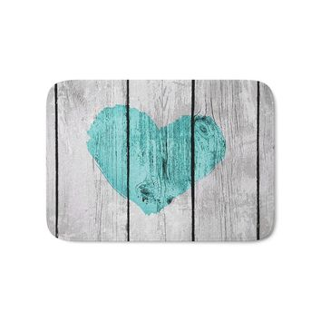 Teal Rustic Heart On Country Wood Bath Mat Entrance Door Mat Bathroom Kitchen Carpets Doormats for Living Room Anti-Slip 2018Hot