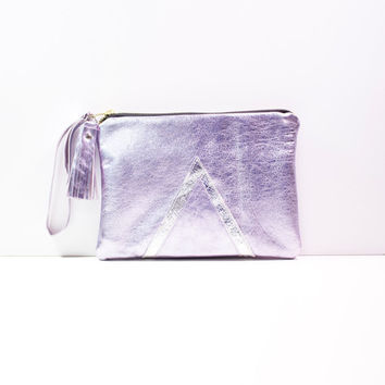 Holographic Silver Leather Wristlet Purse, Evening fold over Clutch, Metallic Lavender Leather, Bridesmaid, Geometric Art Deco Purse