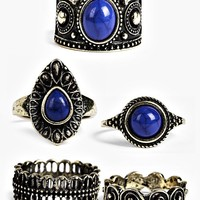 Amber Blue Stone Ornate Ring Pack