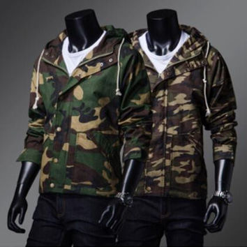 2015 Fashion Trendy camouflage hooded frock coat Slim casual men's baseball uniform military hoodie cardigan jacket windbreaker