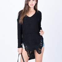 Totally Shredded Knit Tunic