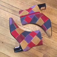 Patchwork Suede Hippie Ankle Boots Womens 6.5 | 90s does 70s Disco Retro Leather Boots - Psychedelic Multicolor High Heel 1970s Boots