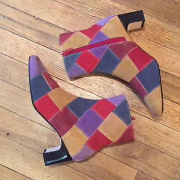 Patchwork Suede Hippie Ankle Boots Womens 6.5   90s does 70s Disco Retro Leather Boots - Psychedelic Multicolor High Heel 1970s Boots