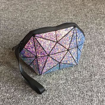 Geometric Holographic Makeup Bag
