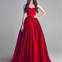 [86.99] Gorgeous Satin Sweetheart A-Line Prom Dresses With Pleats - dressilyme.com