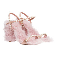Satin and Faux Shearling Sandals