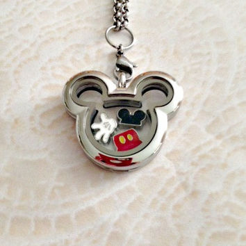 Mickey Love inspired stainless steel memory locket with charms