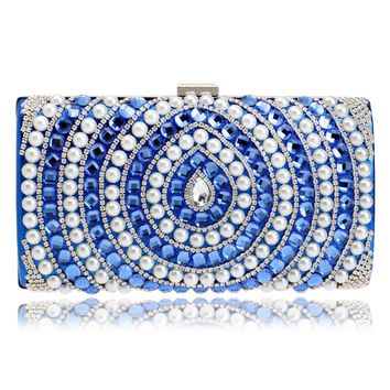 Candy Mixed Color Messenger Chain Shoulder Messenger Women Bags Beaded One Side Metal Evening Bags For Wedding/Party/Dinner