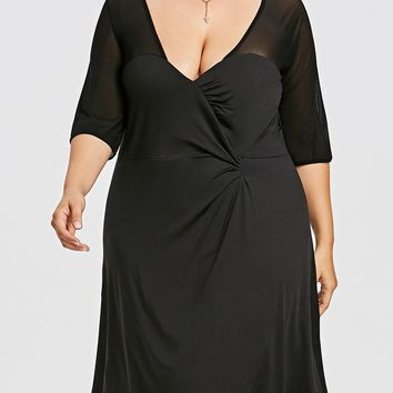 Mesh Panel Plus Size Ruched A-line Dress