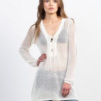 Crochet Lace-Up Tunic Top