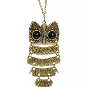 Steampunk Owl Sweater Chain Necklace