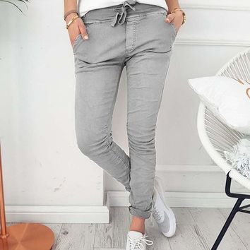 Casual Solid Pants 2018 Women Leisure Skinny Pencil Pants High Waist Stretch Jeans Trousers Cotton Drawstring Leggings Pants