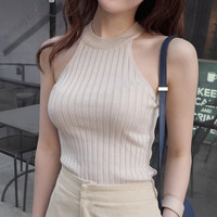 Crop Top Women 2015 Halter Top Cropped Debardeur Femme Knitted Blouses Cotton Vest Womens Off Shoulder Sexy Tops Woman Clothing-N6