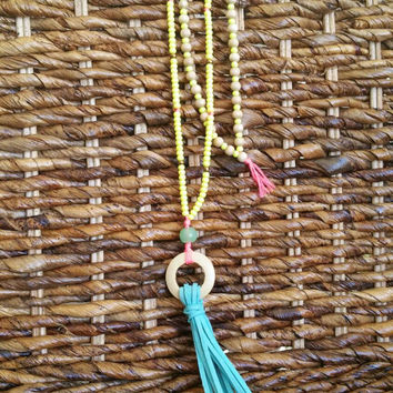 Long neon yellow beaded leather tassel necklace