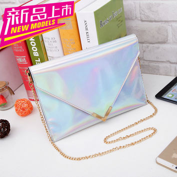 New Fashion Women's handbag Hologram  Laser Silver bag  Envelope Clutch Handbag Chain bag  Free Shipping