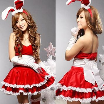 Sexy Christmas Bunny Girl Costume Women's Lingerie Set Red & White