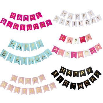 Paper Bunting Happy Birthday Banner Decoration Baby Shower Wedding Party Supplies / 33 options