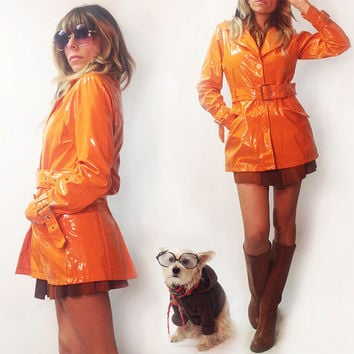 Vintage 60's 70's Mod Tangerine Slicker Trench Rain Coat || Size Medium Size Small Orange Patent Jacket