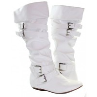Women Fashion Knee High Boots Sexy Riding Style Slouch - White