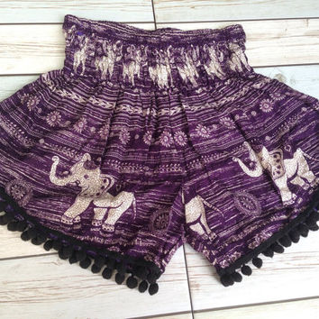 High waisted Pom pom Shorts Elephants Boho Print Summer Beach Chic Fashion Tribal Aztec Ethnic Clothing Bohemian Ikat Cloth pompom Purple