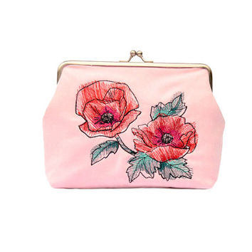 Rose quartz clutch bag // Clutch purse // purse // Women handbag with embroidery // Clasp purse // Clasp bag // Women clutch // Woman bag