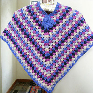 Babies/Girls/Women Afghan Poncho with Flower Granny Square Poncho Crochet Jacket Cardigan  Baby to Adult Sizes