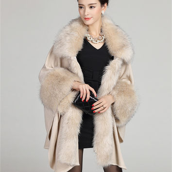 2015 Autumn Winter Women's Long Cardigans Fake Fox Fur Collar Cashmere Sweaters Shawl Knitted Cardigan Poncho Cape GH130