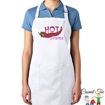 Hot Mama Funny EMBROIDERED Women's Apron Great Mother's Day Gift