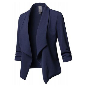 Trendy Womens Three-Quarter Sleeve Office Lapel Coat Open Front Cardigan Jacket Solid W729 AT_94_13