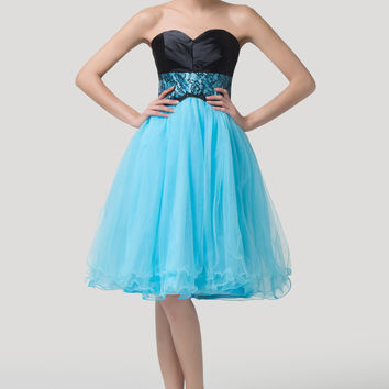 Blue Strapless Empire Waist Homecoming Dress