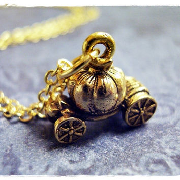 Gold Pumpkin Coach Necklace - Antique Gold Pewter Pumpkin Coach Charm on a Delicate 18 Inch Gold Plated Cable Chain