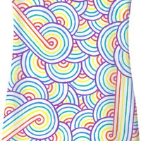 Rainbow and white swirls doodles Simple Dress