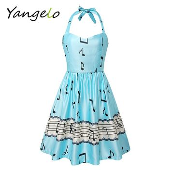 2017 fashion women summer dress sexy backless summer dress sleeves sweet music note print party Cute vintage dress