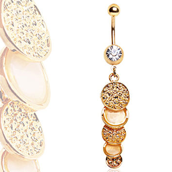 Gold Plated Cascading Discs Navel Ring