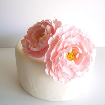 Wedding Peony Cake Topper. Clay Pink Peony Cake Topper