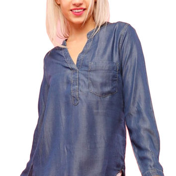 Long Sleeve Button Down Chambray Denim Shirt