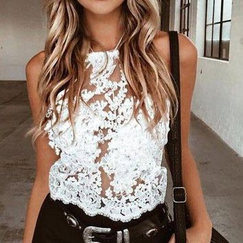 New Fashion Women Summer Sexy Sheer Mesh Lace Tops Casual Tanks Top Women Sexy Cloths