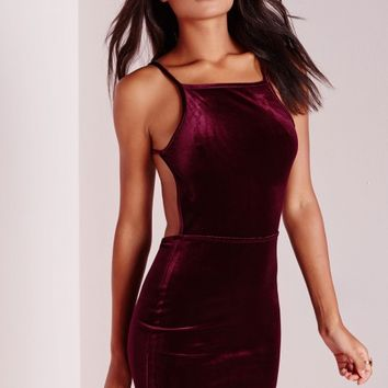 Missguided - Velvet Strappy Open Back Bodycon Dress Burgundy
