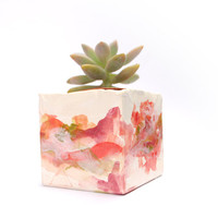 Geometric ceramic planter- red, purple and pink
